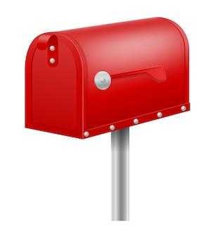 Cassetta delle lettere rossa vintage retrò su bianco