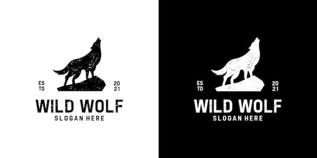 Modello di progettazione logo lupo selvaggio vintage retrò