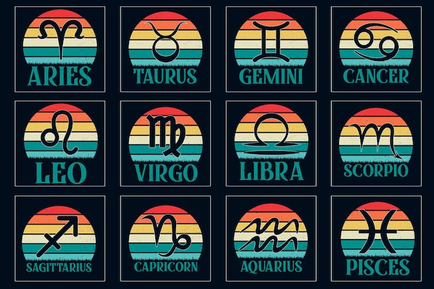 Design retrò vintage per t-shirt con segno zodiacale