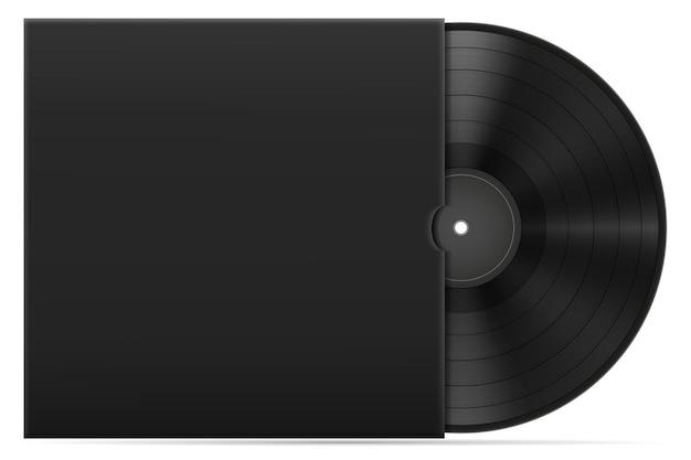 Disco in vinile retrò nell'illustrazione di riserva di copertina isolata su sfondo bianco