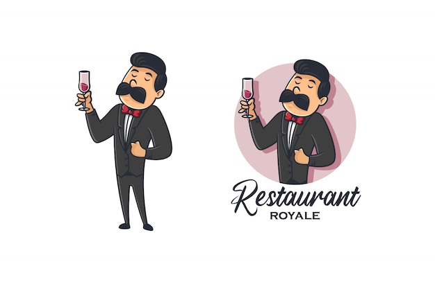 Logo retrò di camerieri vino e ristorante
