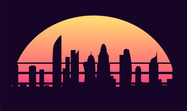 Illustrazione di stile anni '80 della città di notte cyberpunk retrò onda