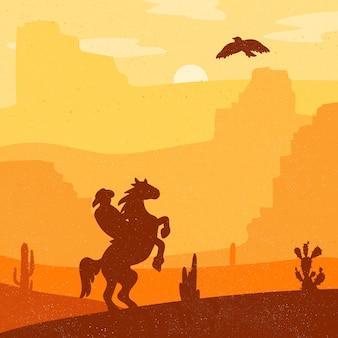 Retro wild west hero sul cavallo al galoppo nel deserto