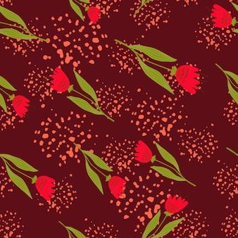 Retro reticolo senza giunte di fiori di campo su sfondo rosso. .