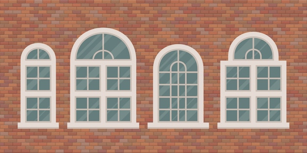 Retro finestre sull'illustrazione del muro di mattoni