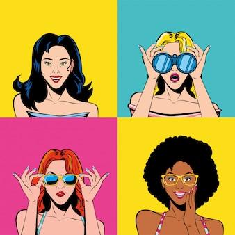 Cartoni animati di donne retrò all'interno del vettore di cornici