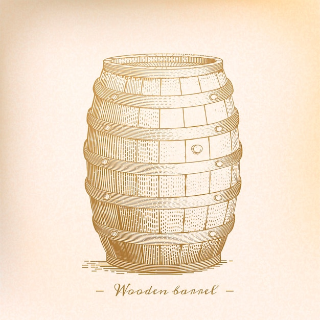 Retro barile di legno in stile incisione, tonalità beige