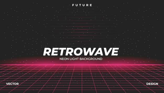 Retrowave cyber neon sfondo paesaggio anni '80 in stile.