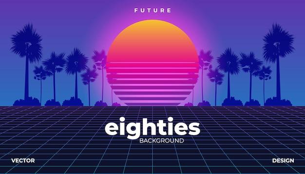 Retrowave, cyber neon sfondo palma paesaggio anni '80