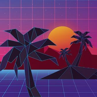 Retroonda dell'isola con le palme