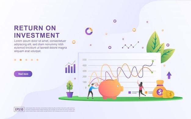Concetto dell'illustrazione di ritorno su investimento. persone che gestiscono grafici finanziari, entrate, crescita finanziaria fino al successo.