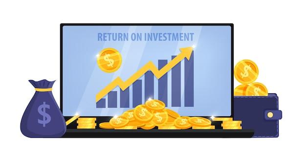 Ritorno sull'investimento o illustrazione di affari di crescita del reddito