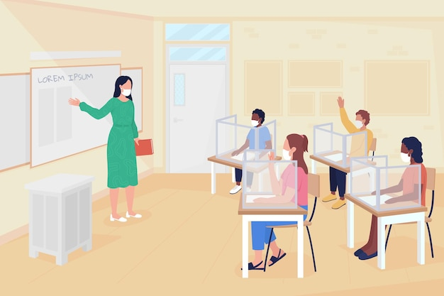 Ritorna alle lezioni scolastiche dopo l'illustrazione vettoriale a colori piatti del coronavirus. misure di prevenzione delle infezioni. insegnante femminile e alunni personaggi dei cartoni animati 2d con interni in aula sullo sfondo
