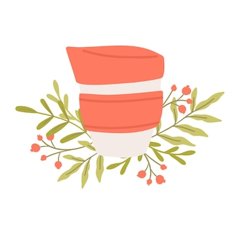 Tazza da caffè riutilizzabile. cucina sostenibile e stile di vita a rifiuti zero. concetto di vita ecologica. illustrazione del fumetto vettoriale