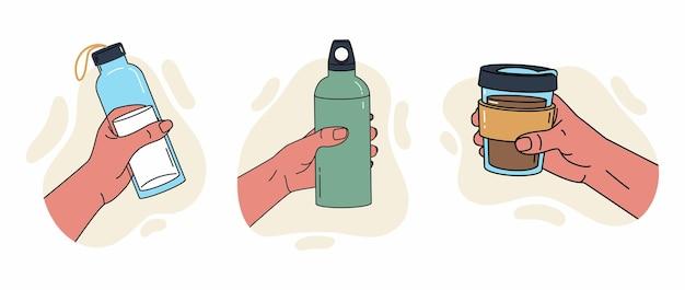 Contenitore riutilizzabile per liquidi varie pose della mano che tiene una bottiglia d'acqua sportiva con bicchiere di bottiglia