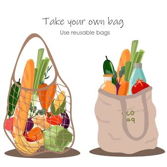 Borsa eco riutilizzabile della drogheria con le verdure isolate dal fondo bianco. zero waste (dire no alla plastica) e concetto di cibo.