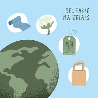 Icone di abbigliamento ecologico con materiali riutilizzabili