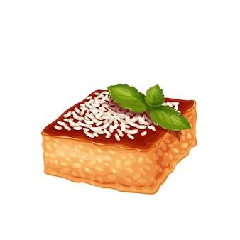 Revani dessert turco tradizionale, illustrazione vettoriale di torta di cucina turca.