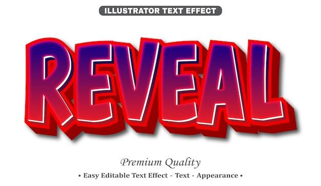 Rivela l'effetto di stile di testo modificabile 3d
