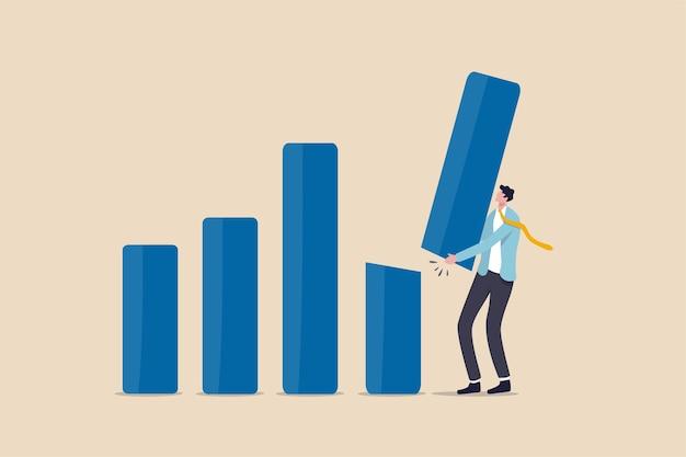 Taglio delle previsioni di reddito, correzione del prezzo del mercato azionario o rallentamento dell'economia globale a causa del concetto di crisi del coronavirus covid-19, consulente finanziario dell'uomo d'affari o esperto che taglia e trattieni il grafico a barre.