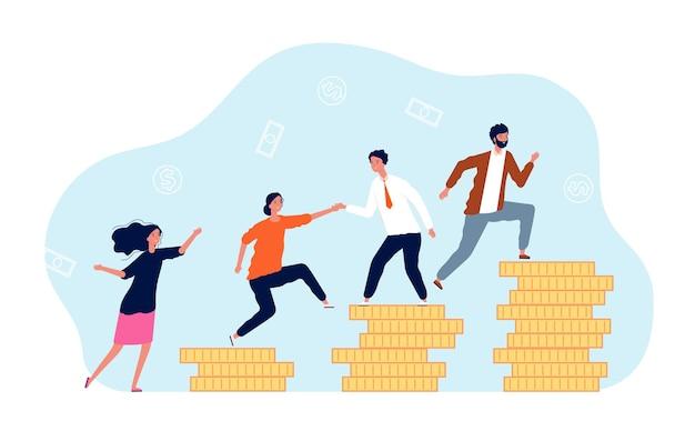 La crescita dei ricavi. le persone si arrampicano sulle monete.