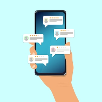Revisione, feedback, discorso bolla di valutazione su smartphone. illustrazione