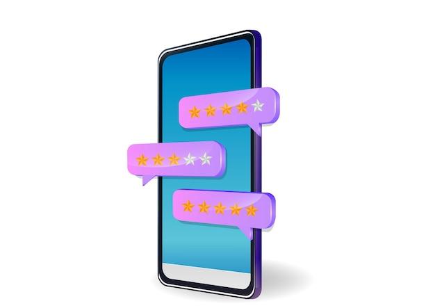 Revisione, feedback, discorso bolla di valutazione su smartphone.