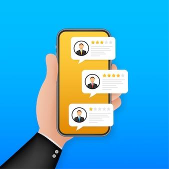 Rivedi i discorsi sulla bolla di valutazione sull'illustrazione del telefono cellulare, le stelle di recensioni di smartphone in stile con tasso e testo buoni e cattivi. illustrazione.