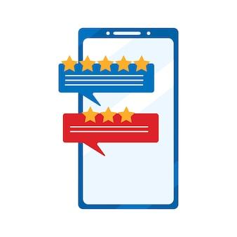 Rivedi i discorsi della bolla di valutazione sullo smartphone. concetto di esperienza o feedback. illustrazione vettoriale piatto isolato su sfondo bianco
