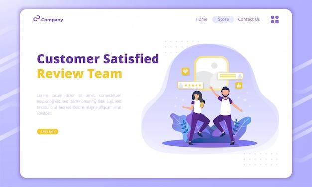 Esamina l'illustrazione del team per il concetto di feedback dei clienti sulla pagina di destinazione
