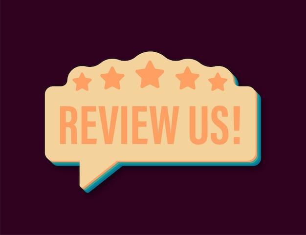Recensiscici il concetto di valutazione degli utenti recensisci e valutaci icona retrò stelle concetto aziendale