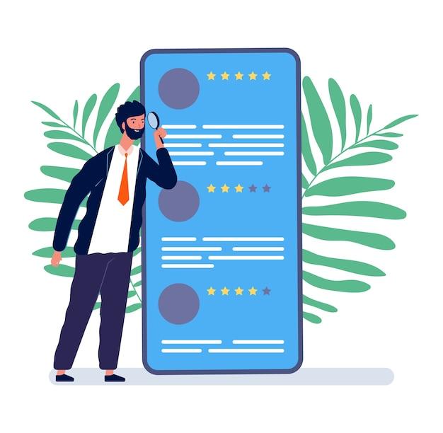 Concetto di recensioni. uomo che guarda il feedback online. revisione mobile, illustrazione del modulo di qualità del cliente. smartphone uomo e feedback