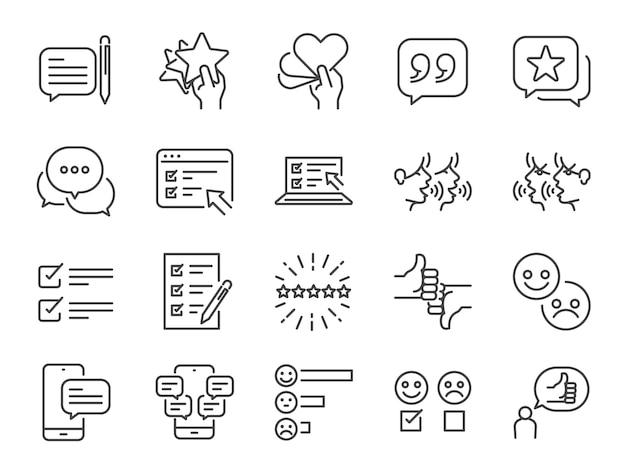 Set di icone di linea di recensioni.