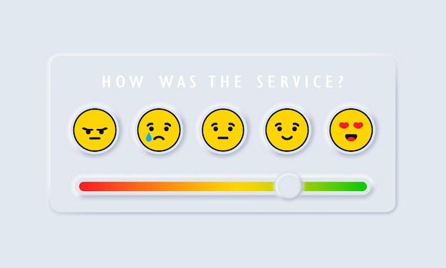 Recensioni o scala di valutazione con emoji che rappresentano emozioni diverse