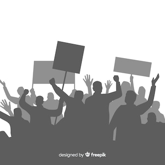 Composizione di rivoluzione con silhouette di persone che protestano
