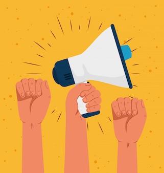 Rivoluzione, mani con megafono, lotta per il tuo diritto
