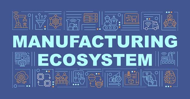 Rivoluzionando il business cresce la bandiera di concetti di parola. infografica con icone lineari su sfondo blu. introduzione alle tecnologie digitali. tipografia isolata. contorno colore rgb