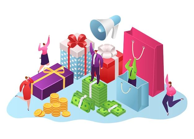 Ricompensa, scatole regalo e concetto di denaro, isolato su bianco
