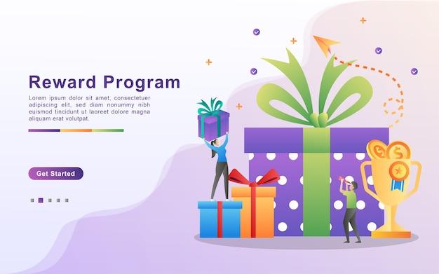 Programma di ricompensa e ricevi il concetto di regalo. Vettore Premium
