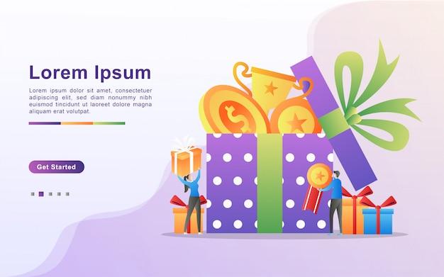 Programma di ricompensa e ottieni il concetto di regalo.