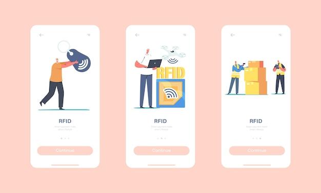 Modello di schermo integrato della pagina dell'app mobile rfid. caratteri minuscoli utilizzano la traccia elettromagnetica di tracciamento della consegna sul carico. concetto di tecnologia dell'etichetta di identificazione a radiofrequenza. cartoon persone illustrazione vettoriale
