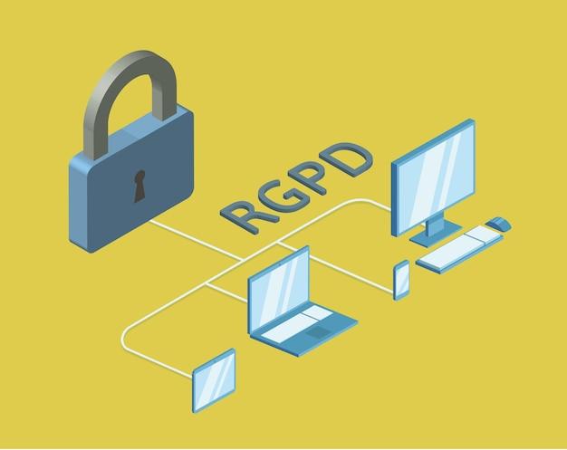 Rgpd, versione spagnola e italiana del gdpr, regolamento generale sulla protezione dei dati. illustrazione isometrica di concetto, isolata. regolamento generale sulla protezione dei dati.