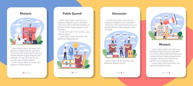 Set di banner per applicazioni mobili di classe scolastica retorica o elocuzione.