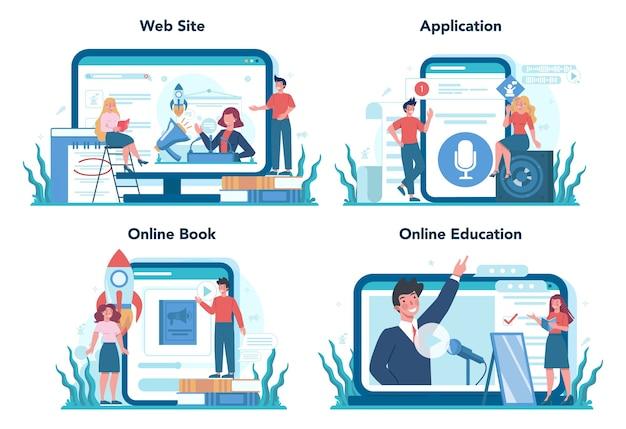 Servizio online specializzato in retorica o elocuzione o set di piattaforme