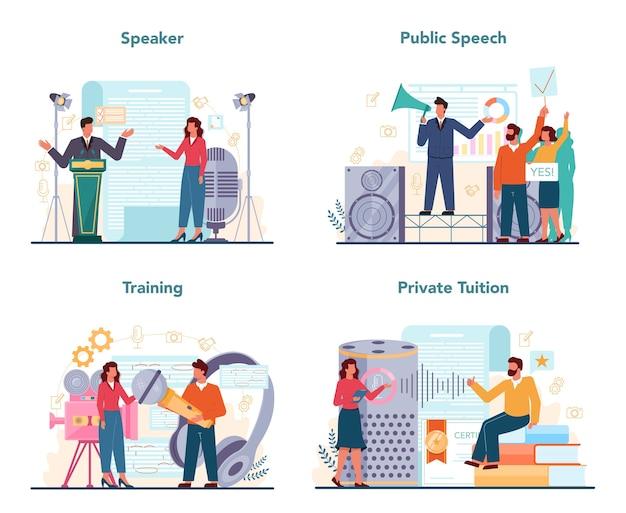 Set di specialisti di retorica o elocuzione. altoparlante o commentatore professionista che parla a un microfono.