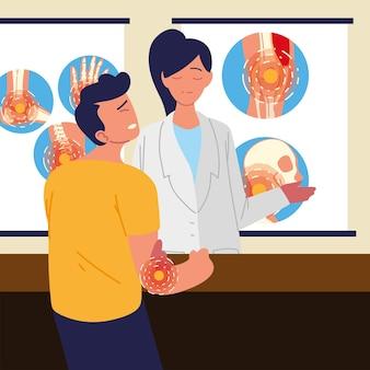 Medico donna reumatologia e ragazzo paziente