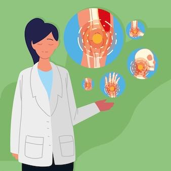 Medico donna reumatologia con set di icone