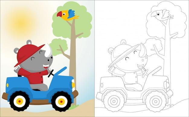 Cartone animato di rinoceronte sull'automobile