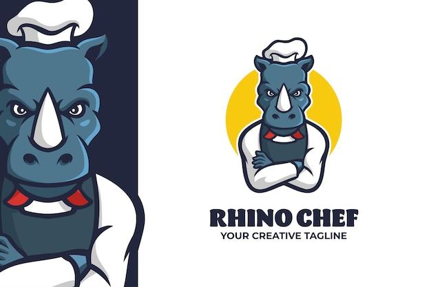 Modello di logo del personaggio della mascotte dello chef di rinoceronte