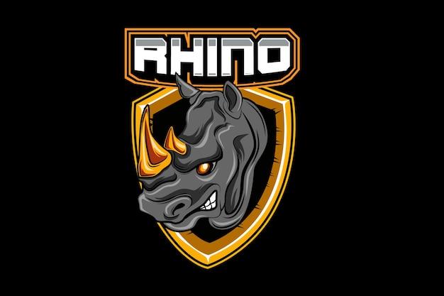 Modello di logo della squadra di rhino e-sports